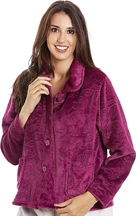 Camille Womens Button Up Rose Print Bed Jackets 18/20 Burg