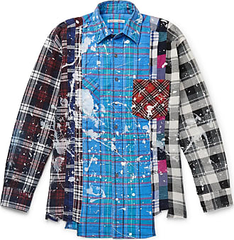 Needles Paint-splattered Checked Cotton-flannel Shirt - Blue