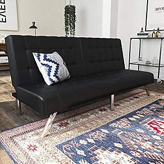 Dorel Home Products DHP Emily Futon Sofa Bed, Modern Convertible Couch With Chrome Legs Quickly Converts into a Bed, Black Faux Leather