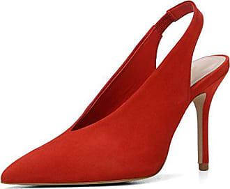 5b2074ca076044 Kolnoo 100mm Damen Slingback Pumps Suede Schuhe Rot Größe EU44
