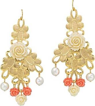 Tinna Jewelry Brinco Dourado Rosas Resina E Pérolas (Rosa)