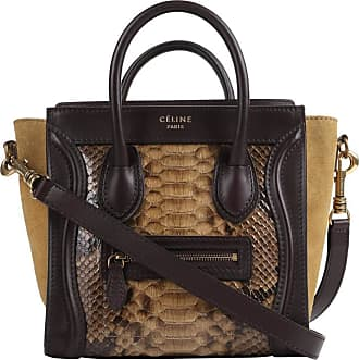 2fd50d53be Celine Dark Brown Olive Genuine Python Suede Nano Luggage Tote Handbag Purse