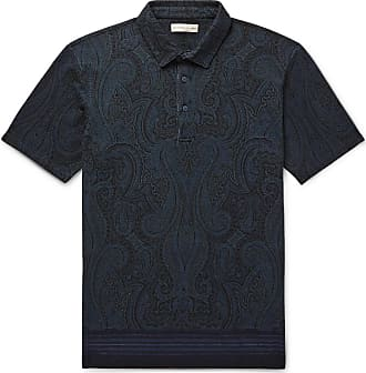 Etro Paisley-print Cotton-piqué Polo Shirt - Storm blue