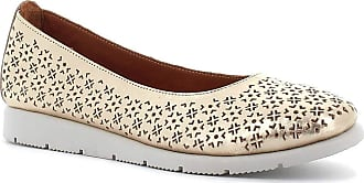 Generico Blender Ballet Flats in Perforated Leather, Platinum Size: 8 UK