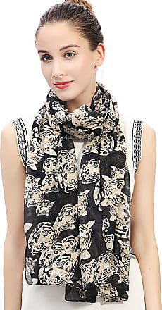 Lina & Lily Tiger Print Womens Large Scarf Lightweight (Black)