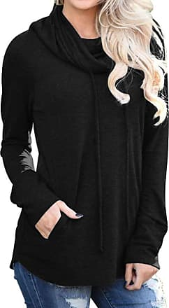 Dresswel Womens Sweatshirts Cowl Neck Long Sleeve Tops Drawstring Pullover Solid Blouse Tunic Top Black