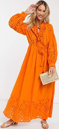 Y.A.S Maxikleid mit Lochstickerei und geschnürtem Ausschnitt und Taille in Orange
