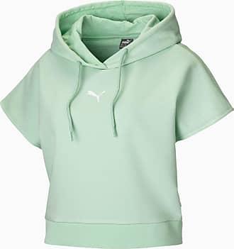 Puma Short Sleeve Womens Hoodie, Mist Green, size X Large, Clothing