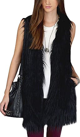 ZongSen Womens Faux Fur Vest Sleeveless Long Outerwear Coat Casual Waistcoat Jacket Gilets Black XXL