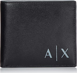 A X Armani Exchange Logo Credit Card Mens Wallet, Black, 9.5x1.5x11.5 centimeters (B x H x T)