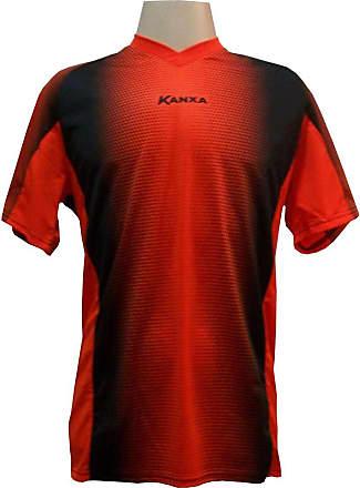 Kanxa Camisa de Goleiro Profissional modelo Pop Graf Manga Curta Tam G Nº 12 - Laranja/Preto - Kanxa