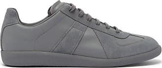 Maison Margiela Replica Suede-panel Leather Trainers - Mens - Light Grey