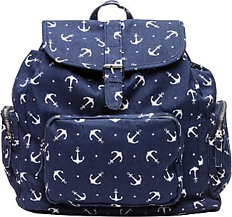 Bershka Ladies Backpack Womens Canvas Cotton Rucksack BSK Enjoy Your Bag, Navy blue with white print; Dimensions (LxHxW): 30 x 34 x 18 cm - One size; Model No