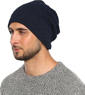 DonDon Mens Jersey Classic Slouch Beanie for wear all year round breathable soft and suitable for heads of all sizes - Dark blue