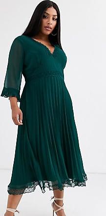 Asos Curve ASOS DESIGN Curve - Vestito midi plissettato con inserti in pizzo-Verde