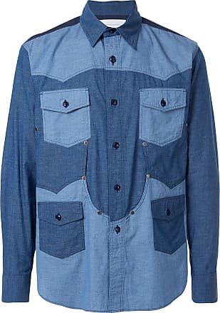 Fumito Ganryu Camisa color block - Azul