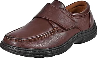 Northwest Territory MENS VELCRO BAR STRAP EASY CLOSE WIDE FIT DRESS SHOE WITH GEL PAD INSOLE BROWN 8