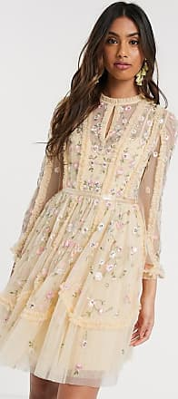 Needle & Thread mini dress with rose embroidery in lemon-Yellow