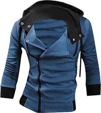 Jeansian Mens Casual Hooded Jacket Slim Fit Outerwear Sweatshirt Tops Coat Zip Sport 8945 Blue XS