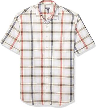 Van Heusen Mens Big and Tall Air Short Sleeve Button Down Poly Rayon Shirt, Silver Birch Plaid, XXL