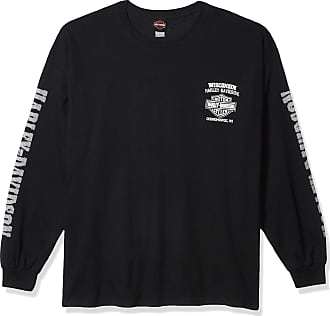 Camp Leatherneck Harley-Davidson Military Mens Navy Long-Sleeve Skull Graphic T-Shirt Chrome Dome
