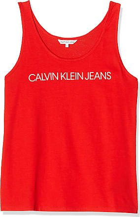 Calvin Klein Jeans Womens INSTITUTIONAL Logo Tank Vest Top, Red (Fiery Red Xa7), 8 (Size:S)
