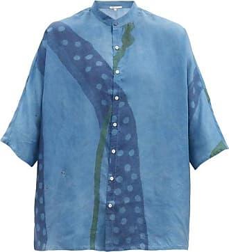 11.11 / eleven eleven 11.11 / Eleven Eleven - Wide-sleeve Floral-print Silk Shirt - Mens - Light Blue
