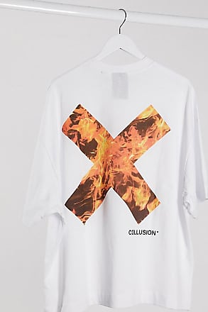 Collusion Unisex - Weißes T-Shirt mit Logo mit Flammendesign