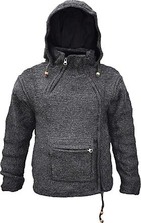 Gheri Plain Natural Woolen Winter Kangaroo Pouch Zip Handmade Hoodie Jacket Charcoal X-Large