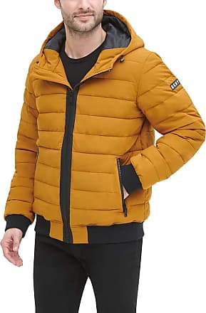 DKNY Mens Quilted Performance Hooded Bomber Jacket Down Alternative Coat, Gold Matte Stretch, Medium