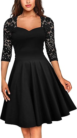 FeelinGirl Womens Plus Size Evening Dresses V Neck Half Sleeves High Waist A Line Christmas Party Dress (Long-Black, UK 10-12 M)