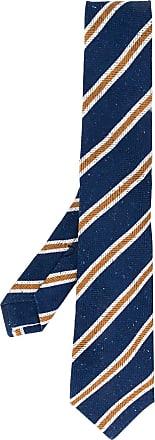 Kiton Gravata com padronagem de listras - Azul