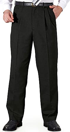 Chums Mens Poly Viscose Pleated Trouser Pants with Extra Stretch Waistband Black 46W / 33L