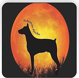 Rikki Knight Rikki Knight Doberman Pinscher Dog Silhouette by Moon Design Square Fridge Magnet