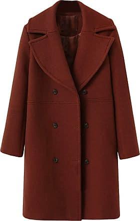 NPRADLA Women Ladies Winter Lapel Slim Long Coat Jacket Parka Outwear Wool Overcoat (XL/UK 12, ZZ-Brown)