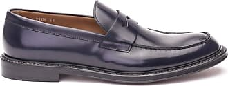 Doucal's Brushed Leather Penny bar Loafers, 42 Dark Blue