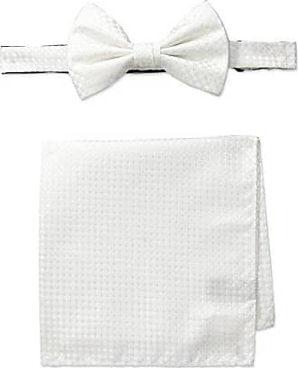 Steve Harvey Mens Bowtie and Neat Solid Pocket Square, White, One Size