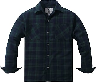 WenVen Mens Plaid Flannel Thermal Lined Button Down Shirt Jacket Shacket Blackish Green XX-Large