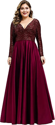 Ever-pretty Womens V Neck Long Sleeve Sequin Floor Length A line Elegant Plus Size Mother of The Bride Dresses Burgundy 24UK