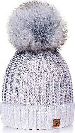 Bommel MÜTZE Pailletten STRICK Fake Fur Rosa Schwarz Weiß Creme BLOGGER Winter