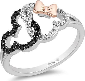Zales Mickey Mouse & Minnie Mouse 1/4 CT. T.w. Diamond Interlocking Ring in Sterling Silver and 10K Rose Gold - Size 7