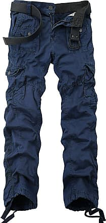 OCHENTA Ochenta mens loose-fit casual trousers water scrubbing cargo pants with multiple pockets made of cotton, 3380 Sapphire Blue, 40