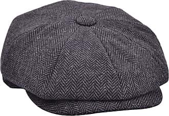 GFM 100% Wool Baker Boy Hat - 8 Panel in Grey Herringbone- Newsboy Flat Cap (GN168-D-BH), 56 cm
