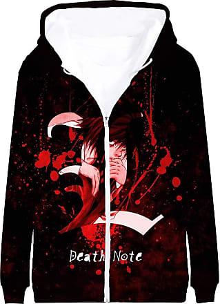 Haililais Death Note Pullover Coat Long Sleeve Printed Hooded Outerwear with Zipper Anime Popular 3D Parent-Child wear Unisex (Color : A01, Size : 185)