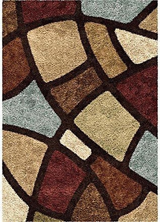 Orian Rugs Impressions Shag Circle Bloom Area Rug, 67 x 98, Multicolor