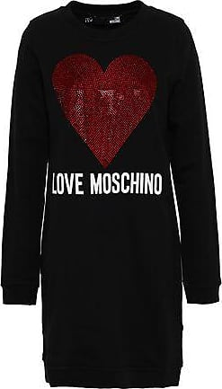 Love Moschino Love Moschino Woman Crystal-embellished Printed French Cotton-blend Terry Mini Dress Black Size 38