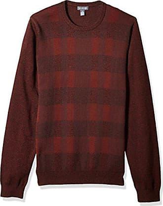 Van Heusen Mens Plaid Crewneck Sweater,Burgundy Wine,Small