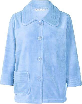Slenderella Stitch Detail Coral Fleece Button Bed jacket (Large, Blue)