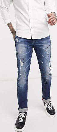 A|X Armani Exchange J13 - Schmal geschnittene Jeans mit Farbspritzern in mittlerer Waschung-Blau