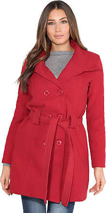 Krisp Women Parka Belted Military Duffle Trench Toggle Coat Long Jacket (Red, 16), 5651-RED-16
